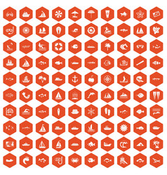 100 sea icons hexagon orange vector