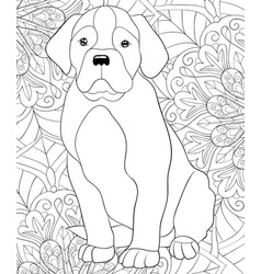 Adult coloring bookpage a cute dog on the floral vector