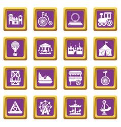 amusement park icons set purple square vector image