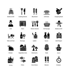 Barbecue and grill solid icons pack vector