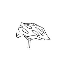 bicycle helmet hand drawn outline doodle icon vector image