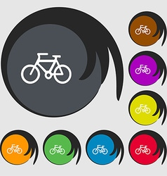 Bicycle icon sign Symbols on eight colored buttons vector image