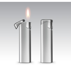 Blank Metal Lighters with Flame Isolated vector