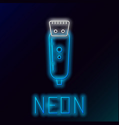 Blue glowing neon line electrical hair clipper or vector