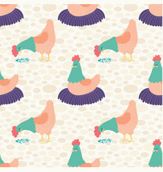 bright cream hens seamless pattern vector image