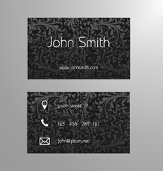 Business card template in black floral pattern vector image