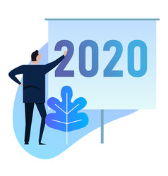 business man presentation strategy for 2020 new vector image