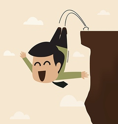 Businessman jump from a cliff vector image