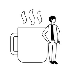 businessman standing near coffee cup vector image