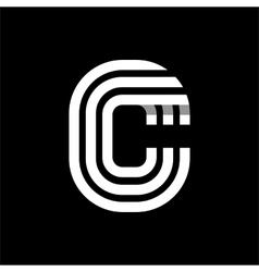 Capital letter C Made of three white stripes vector