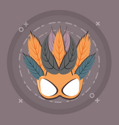 carnival mask with feathers decoration retro style vector image