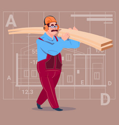 cartoon builder holding planks wearing uniform and vector image