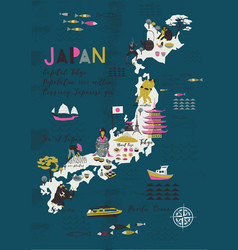 Cartoon map japan print design vector