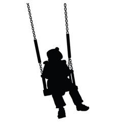 child swinging black silhouette vector image