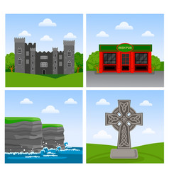 cliffs of moher malahide castle irish pub vector image