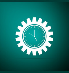 clock gear icon isolated on green background vector image