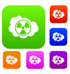 Cloud and radioactive sign set collection vector