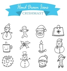 Collection christmas icons with hand draw vector