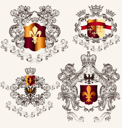 Collection heraldic shields in vintage style vector