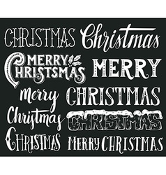 Collection merry christmas hand lettering vector