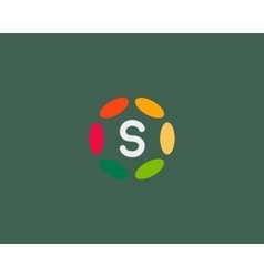 Color letter s logo icon design hub frame vector