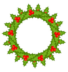 colorful cartoon holly berry wreath vector image