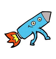 comic cartoon happy rocket vector image