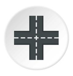 crossing road icon circle vector image