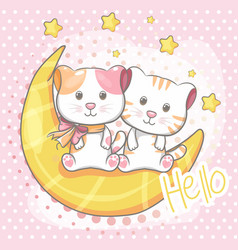cute cat sitting on moon for kids vector image