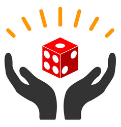 Dice prosperity hands flat icon vector
