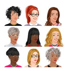Different female avatars vector image