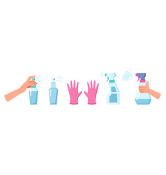 disinfection and cleaning antiseptic spray gloves vector image