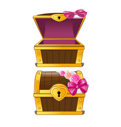 elegant treasure chest decorated with flower buds vector image