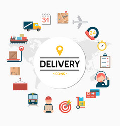 flat delivery round concept vector image
