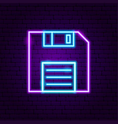 floppy disk neon label vector image