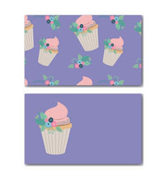 Flowers and cupcakes birthday party vector