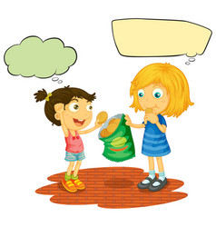 girls with speech balloon vector image