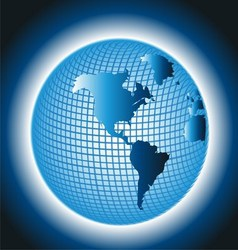 Globe Grid Design on Blue Background vector image