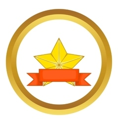 Gold star award with ribbon icon vector