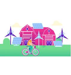 Green energy for smart farm flat vector