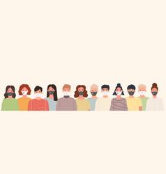 group people portrait wearing medical masks vector image
