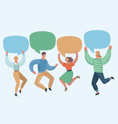 group people with speech bubbles jumping vector image