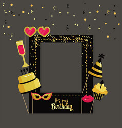 Happy birthday framework with party decoration vector