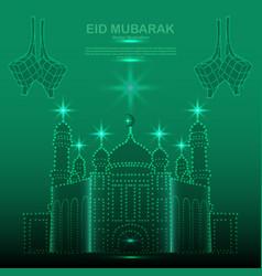 Happy eid mubarak consists green dots vector