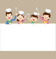 Happy family cooking with space frame vector