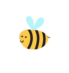 happy flying bee isolated element insect vector image