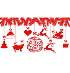 happy new year santa claus hat deer heart gift vector image