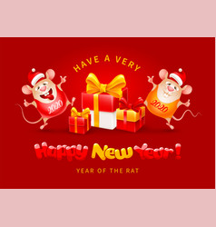 Happy new year year rat vector