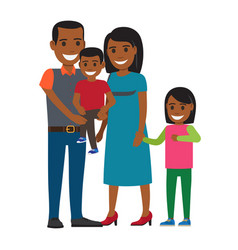 Happy parents with little children flat vector