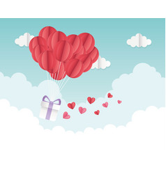 happy valentines day origami gift balloon hearts vector image